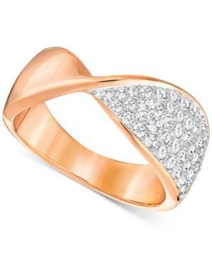 Swarovski Rose Gold-tone Twisted Pave Statement Ring
