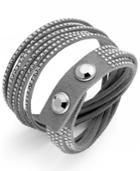 Swarovski Bracelet, Gray Fabric Crystal Wrap Bracelet