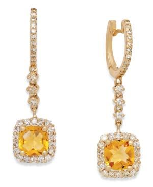 Citrine (2 Ct. T.w.) And Diamond (3/4 Ct. T.w.) Drop Earrings In 14k Gold
