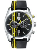 Scuderia Ferrari Men's Chronograph D50 Yellow And Black Leather Strap Watch 44mm 830235