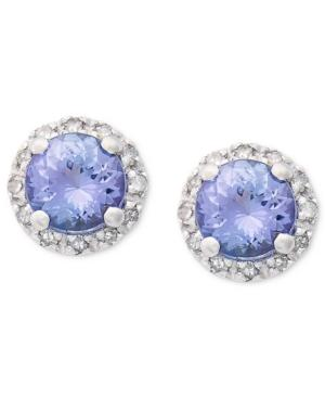 Sterling Silver Earrings, Tanzanite (1 Ct. T.w.) And Diamond (1/10 Ct. T.w.) Round-cut Stud Earrings