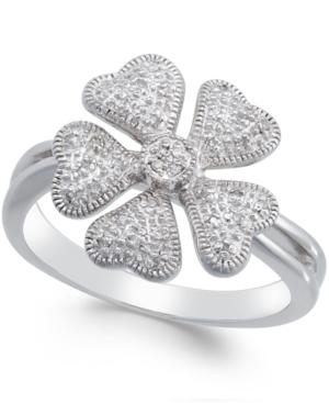 Diamond Flower Ring (1/10 Ct. T.w.) In Sterling Silver