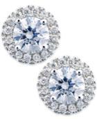 Diamond Earrings, 14k White Gold Diamond Round Halo Stud Earrings (1/3 Ct. T.w.)
