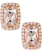 Morganite (1 Ct. T.w.) And Diamond (1/10 Ct. T.w.) Stud Earrings In 14k Rose Gold