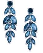 Blue Topaz Leaf Drop Earrings (6-3/8 Ct. T.w.) In Sterling Silver