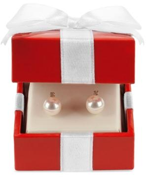 Belle De Mer 14k Gold Earrings, Cultured Freshwater Pearl (7mm) And Diamond Accent Stud Earrings