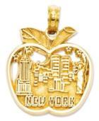 14k Gold Charm, Cut-out New York City Skyline Apple Charm