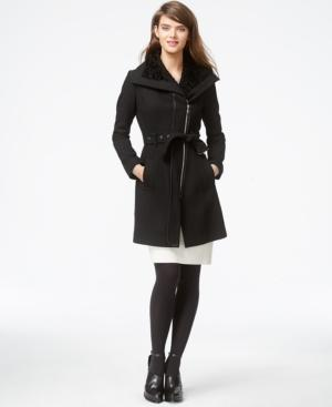 Guess Faux-fur-collar Asymmetrical-zip Coat