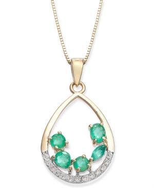 Emerald (3/4 Ct. T.w.) & Diamond (1/8 Ct. T.w.) 18 Pendant Necklace In 14k Gold