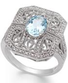 Aquamarine (1 Ct. T.w.) And Diamond (1/10 Ct. T.w.) Filigree Ring In Sterling Silver