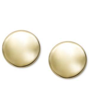 14k Gold Earrings, Button Stud