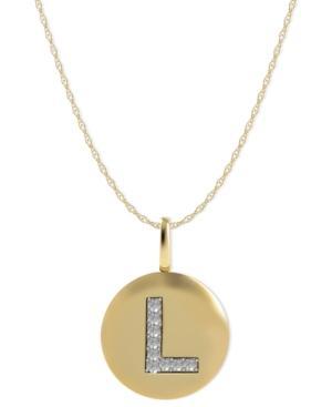 14k Gold Necklace, Diamond Accent Letter L Disk Pendant