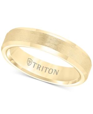 Triton Bevel Edge Comfort Fit Band In Yellow Tungsten Carbide