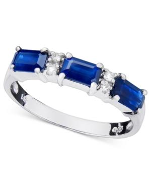14k White Gold Ring, Sapphire (1ct T.w.) And Diamond Accent