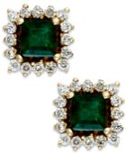Emerald (5/8 Ct. T.w.) And Diamond (1/3 Ct. T.w.) Stud Earrings In 14k Gold