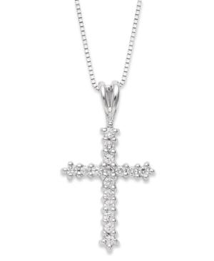 Diamond Cross Pendant Necklace In 14k White Gold (1/4 Ct. T.w.)