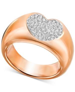 Swarovski Rose Gold-tone Crystal Pave Heart Ring