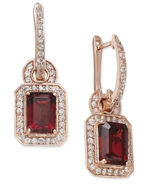 Garnet (1 Ct. T.w.) And White Sapphire (1/4 Ct. T.w.) Drop Earrings In 14k Rose Gold