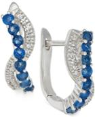 Sapphire (1/2 Ct. T.w.) And Diamond (1/8 Ct. T.w.) Earrings In 14k White Gold