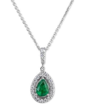 Emerald (3/4 Ct. T.w.) & Diamond (1/4 Ct. T.w.) 18 Pendant Necklace In 14k White Gold