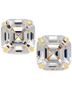 Cubic Zirconia Stud Earrings In 10k Gold