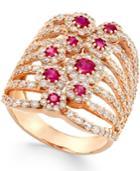 Ruby (1 Ct. T.w.) And Diamond (2-1/6 Ct. T.w.) Ring In 14k Rose Gold
