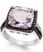 Pink Amethyst (12mm) And Swarovski Zirconia Ring In Sterling Silver