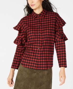 Sage The Label Plaid Ruffle-sleeve Shirt