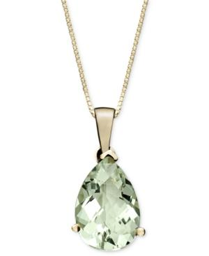 14k Gold Necklace, Green Quartz Pear Drop Pendant (2-3/4 Ct. T.w.)