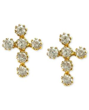 Children's 14k Gold Earrings, Cubic Zirconia Cross