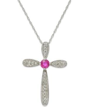 10k White Gold Necklace, Ruby (1/6 Ct. T.w.) And Diamond Accent Cross Pendant (1/4 Ct. T.w.)