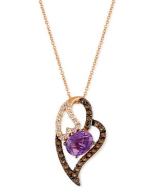 Le Vian Amethyst (1-3/8 Ct. T.w.), White Topaz (1/3 Ct. T.w.) And Smoky Quartz (1/3 Ct. T.w.) Heart Pendant Necklace In 14k Rose Gold