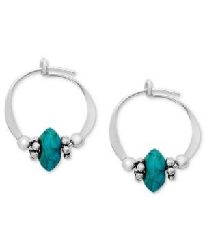 Jody Coyote Sterling Silver Earrings, Small Simulated Turquoise Bead Hoop Earrings