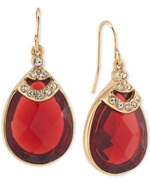 Carolee Gold-tone Teardrop Burgundy Stone And Pave Drop Earrings