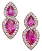 Certified Ruby (1-1/4 Ct. T.w.) And Diamond (1/4 Ct. T.w.) Drop Earrings In 14k Rose Gold