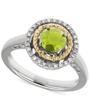 Peridot (1 Ct. T.w.) & Diamond Accent Two-tone Ring In Sterling Silver & 14k Gold