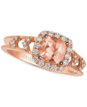 Le Vian Chocolatier Peach Morganite (5/8 Ct. T.w.) & Diamond (1/4 Ct. T.w.) Ring In 14k Rose Gold