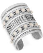 Lucky Brand Silver-tone White Stone Wide Cuff Bracelet