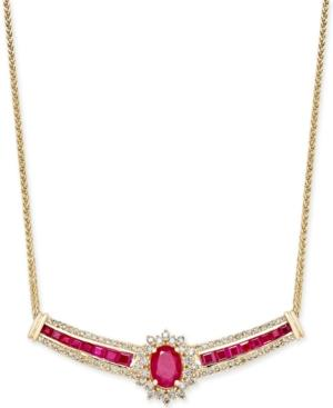 Ruby (3 Ct. T.w.) And Diamond (3/4 Ct. T.w.) Fancy Collar Necklace In 14k Gold
