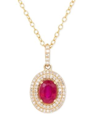 Certified Ruby (1 Ct. T.w.) & Diamond (1/5 Ct. T.w.) Pendant Necklace In 14k Gold