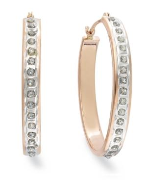 14k Rose Gold Earrings, Diamond Accent Oval Hoop Earrings