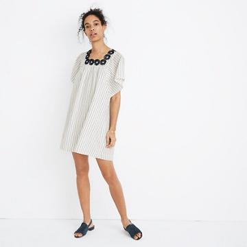 Madewell Embroidered Butterfly Dress In Stripe