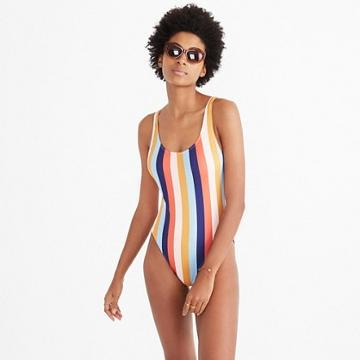 Madewell Madewell X Solid & Striped® Anne-marie One-piece Swimsuit In Sahara Stripe