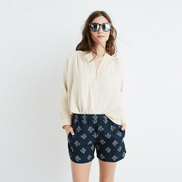 Madewell Drapey Pull-on Shorts In Flowerstamp