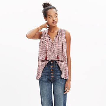 Madewell Bellshift Tank Top In Gingham Check