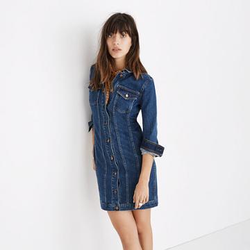 Madewell Denim Seamed Button-front Dress