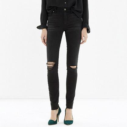 Madewell High Riser Skinny Skinny Cut-edge Jeans In Black Sea
