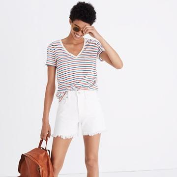 Madewell The Perfect Jean Short In Tile White