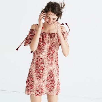 Madewell Silk Cold-shoulder Dress In Watercolor Paisley