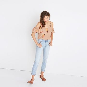 Madewell Silk Cold-shoulder Ruffle Top In Cactus Flower